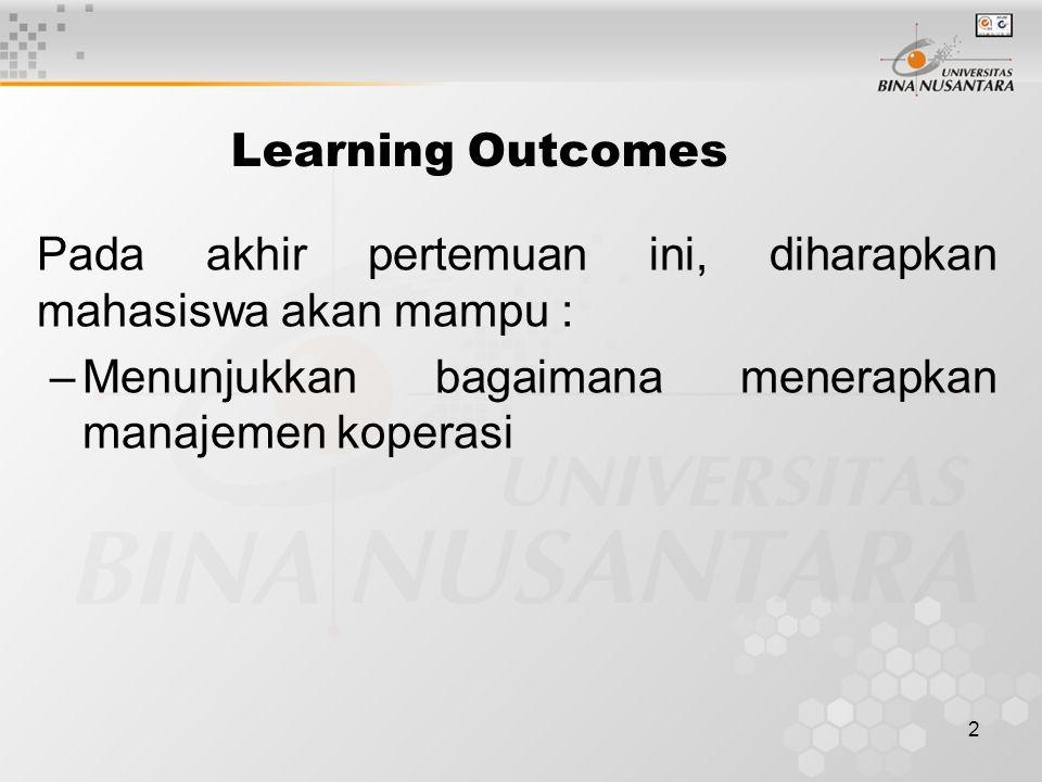 Learning Outcomes Pada akhir pertemuan ini, diharapkan mahasiswa akan mampu : Menunjukkan bagaimana menerapkan manajemen koperasi.