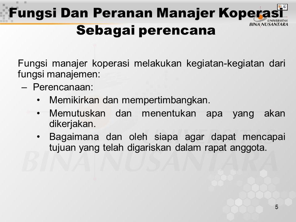 Fungsi Dan Peranan Manajer Koperasi