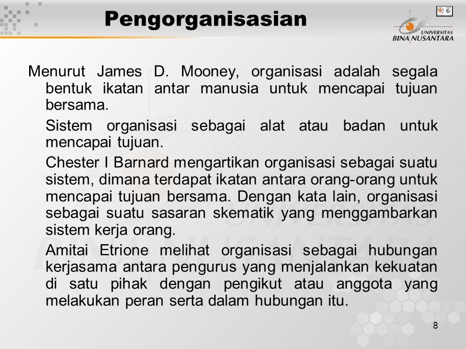 Pengorganisasian Menurut James D. Mooney, organisasi adalah segala bentuk ikatan antar manusia untuk mencapai tujuan bersama.