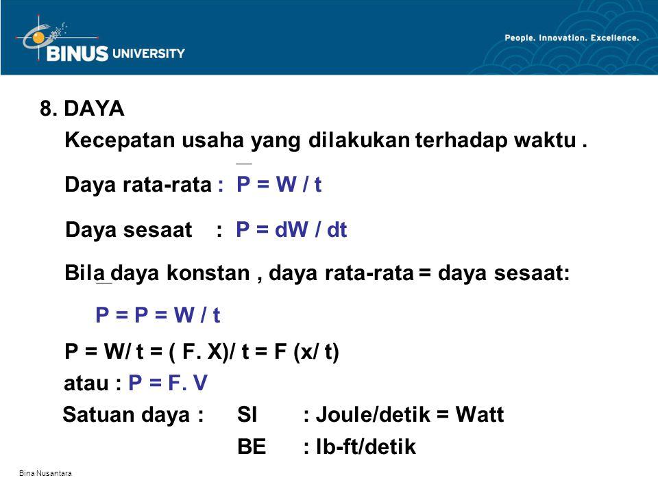 8. DAYA atau : P = F. V BE : lb-ft/detik
