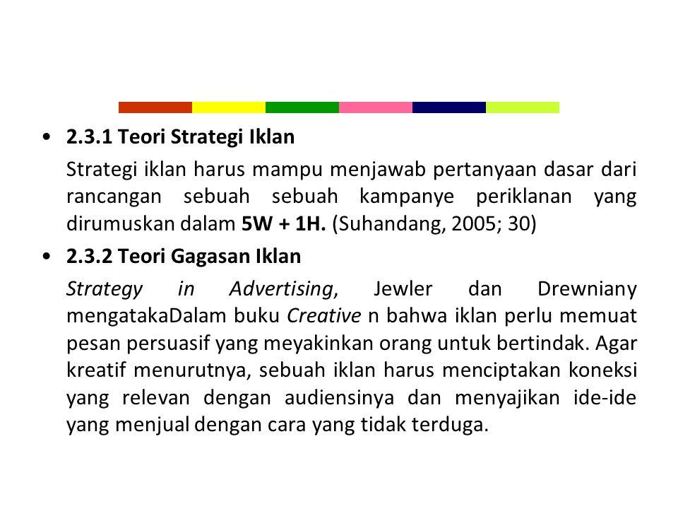 2.3.1 Teori Strategi Iklan
