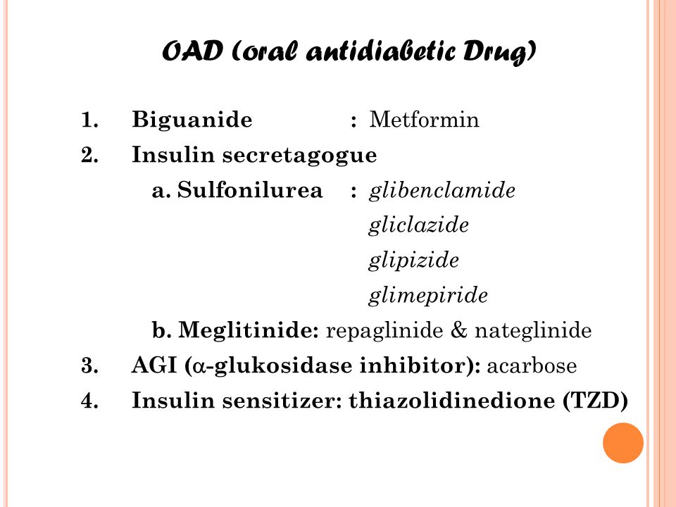 OAD (oral antidiabetic Drug)