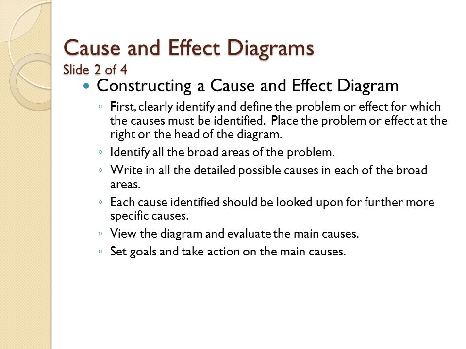 Cause and Effect Diagrams Slide 2 of 4