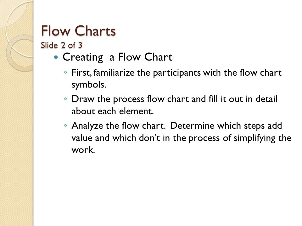Flow Charts Slide 2 of 3 Creating a Flow Chart