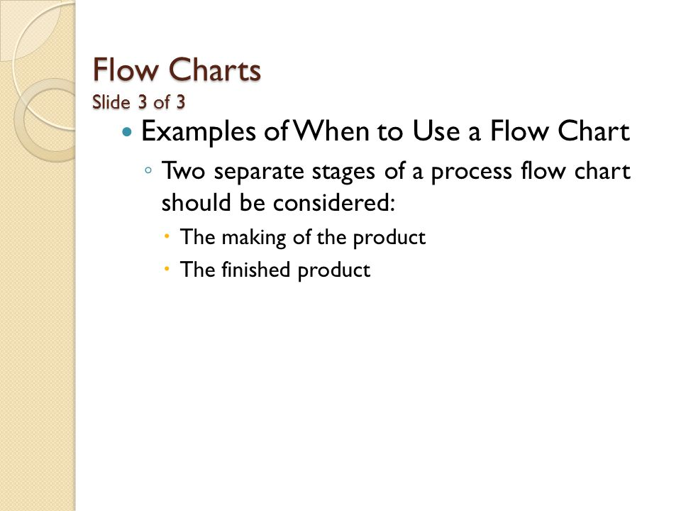 Flow Charts Slide 3 of 3 Examples of When to Use a Flow Chart