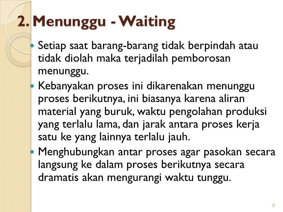 2. Menunggu - Waiting Setiap saat barang-barang tidak berpindah atau tidak diolah maka terjadilah pemborosan menunggu.