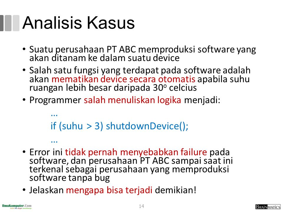 Analisis Kasus if (suhu > 3) shutdownDevice();