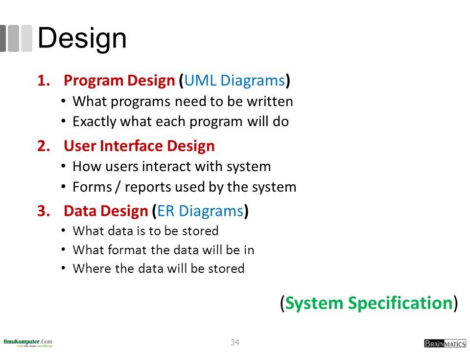 Design (System Specification) Program Design (UML Diagrams)