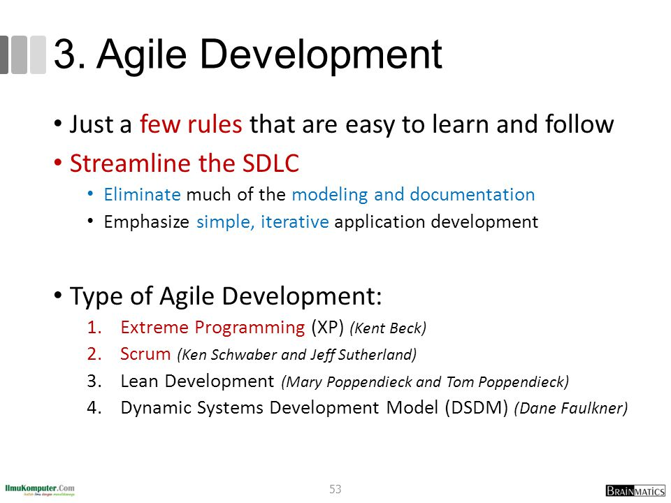 romi@romisatriawahono.net Software Engineering: An Overview. 3. Agile Development. Just a few rules that are easy to learn and follow.