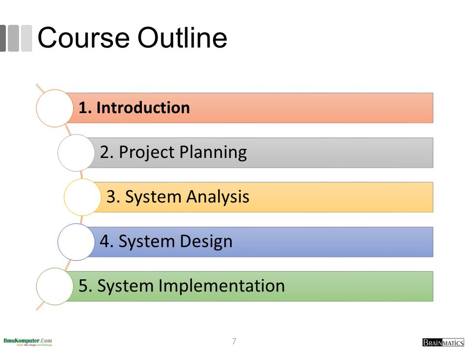 Course Outline 1. Introduction 2. Project Planning 3. System Analysis