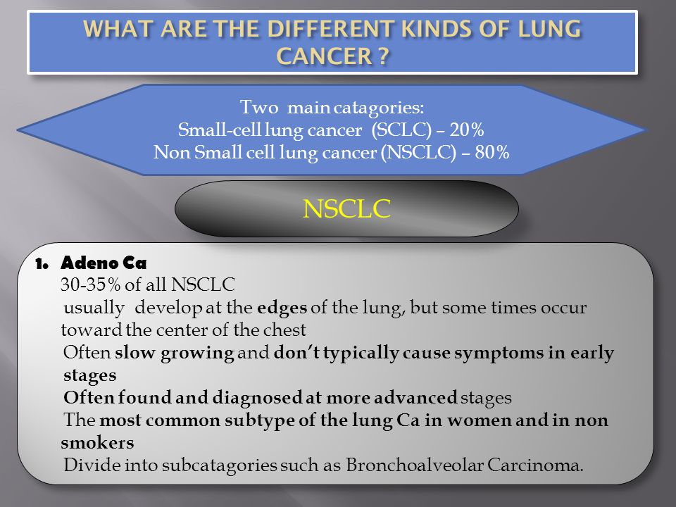 WHAT ARE THE DIFFERENT KINDS OF LUNG CANCER