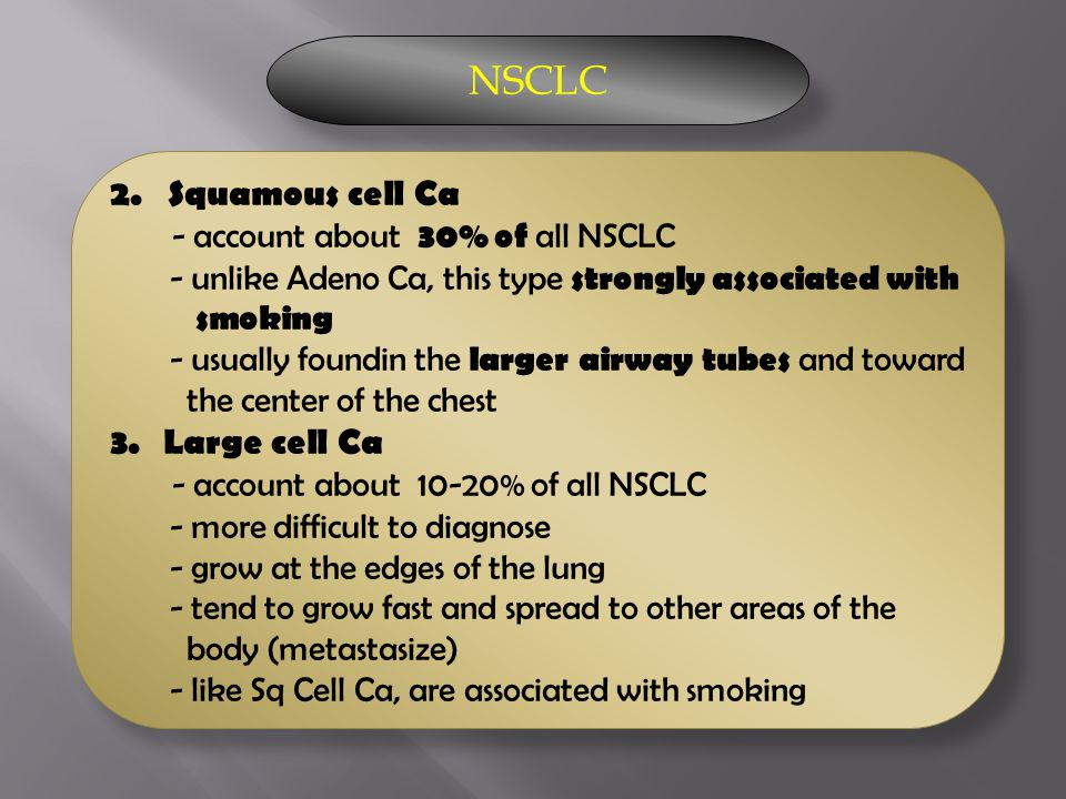 NSCLC 2. Squamous cell Ca - account about 30% of all NSCLC