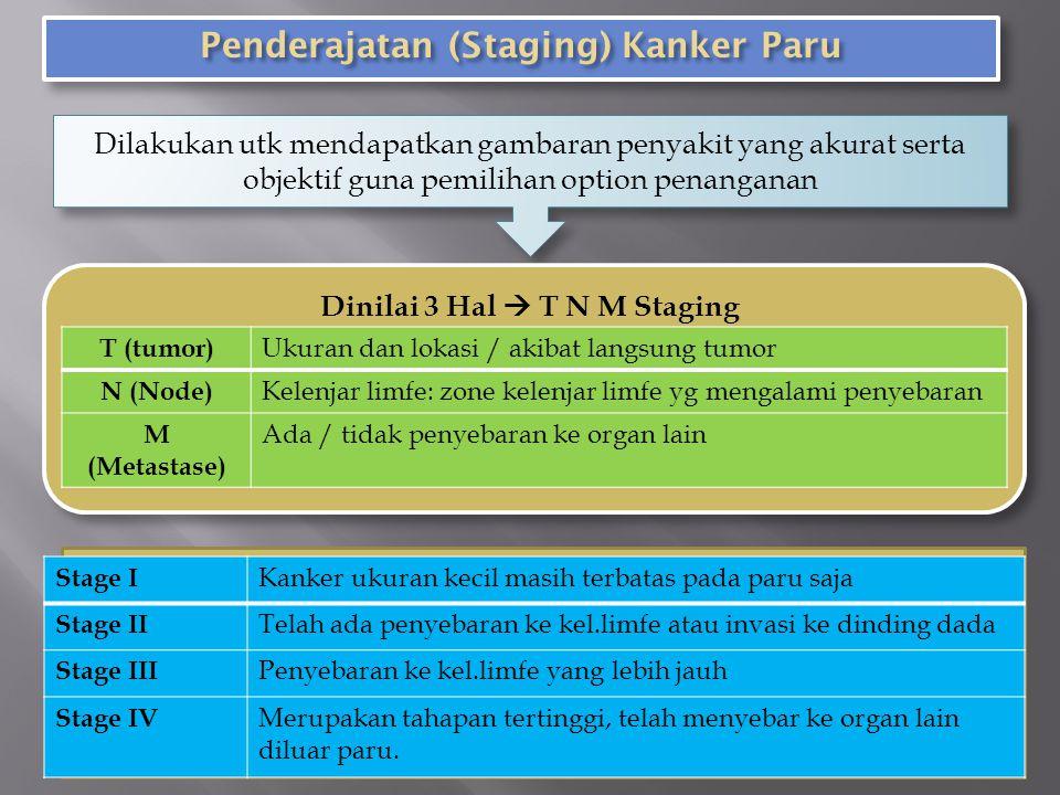 Penderajatan (Staging) Kanker Paru Dinilai 3 Hal  T N M Staging