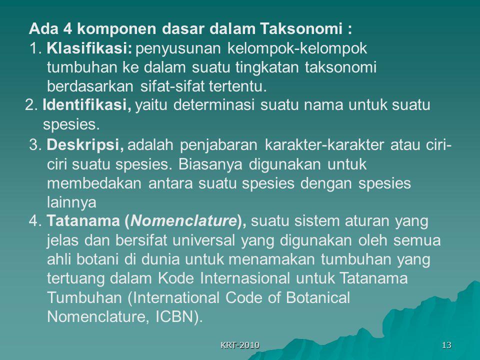 Ada 4 komponen dasar dalam Taksonomi :