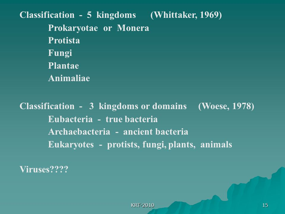 Classification - 5 kingdoms (Whittaker, 1969) Prokaryotae or Monera