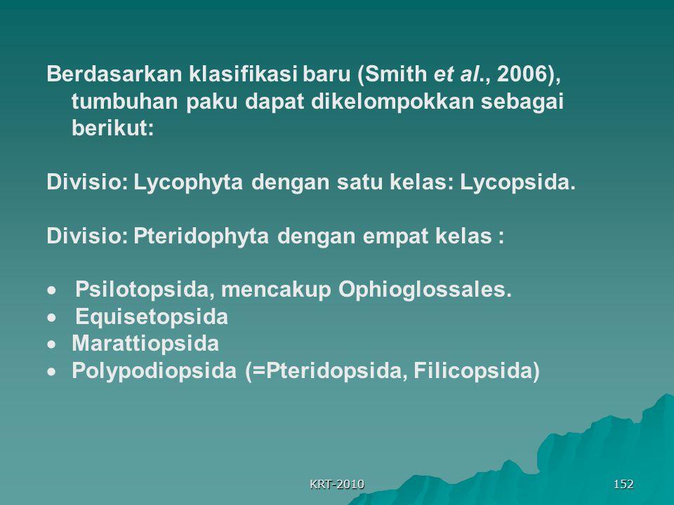 Divisio: Lycophyta dengan satu kelas: Lycopsida.