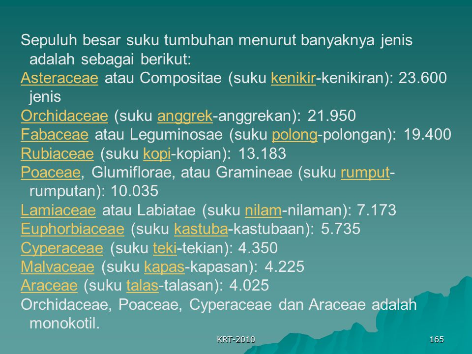 Asteraceae atau Compositae (suku kenikir-kenikiran): 23.600 jenis