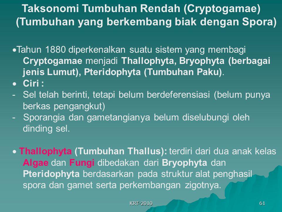 Taksonomi Tumbuhan Rendah (Cryptogamae) (Tumbuhan yang berkembang biak dengan Spora)