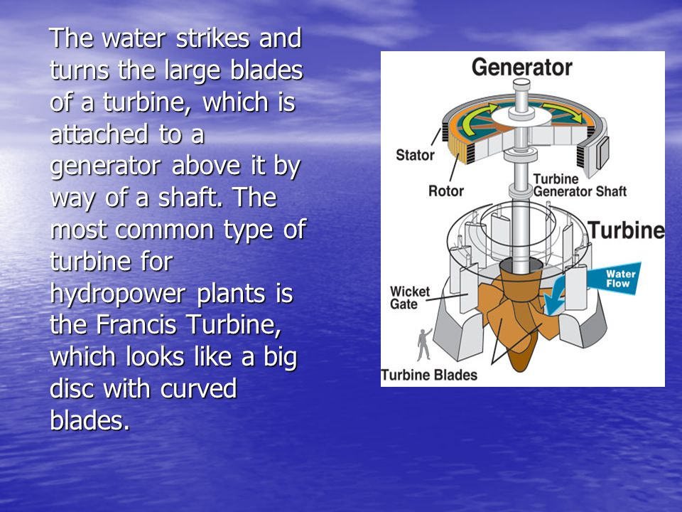 The water strikes and turns the large blades of a turbine, which is attached to a generator above it by way of a shaft.