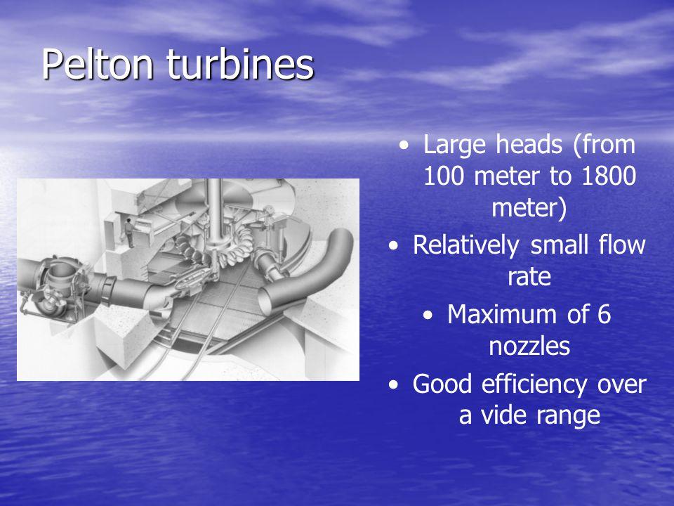 Pelton turbines Large heads (from 100 meter to 1800 meter)