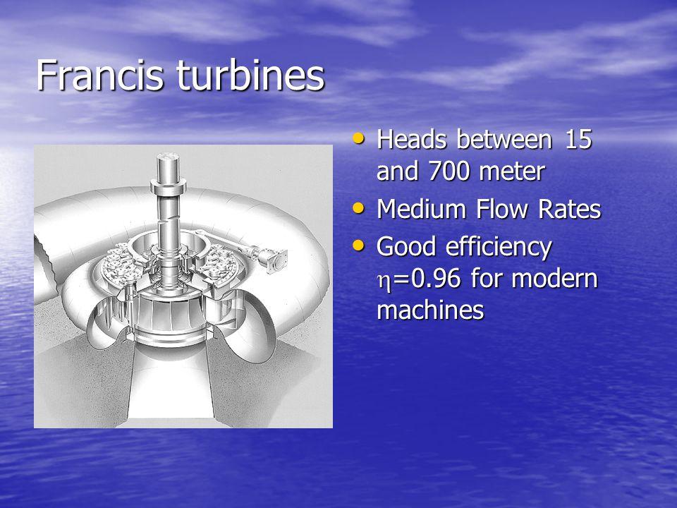 Francis turbines Heads between 15 and 700 meter Medium Flow Rates