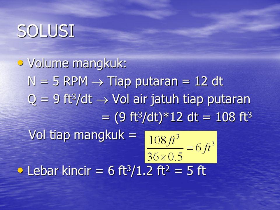SOLUSI Volume mangkuk: N = 5 RPM  Tiap putaran = 12 dt
