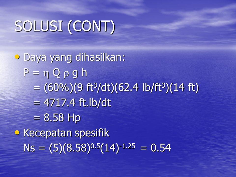 SOLUSI (CONT) Daya yang dihasilkan: P =  Q  g h