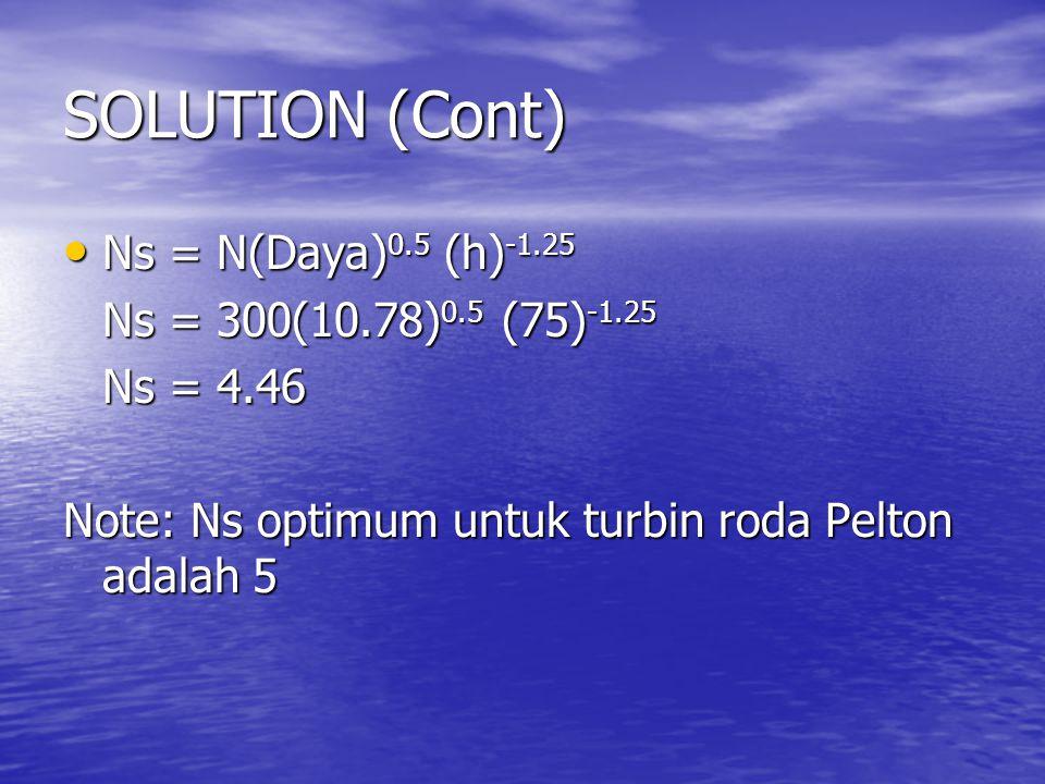 SOLUTION (Cont) Ns = N(Daya)0.5 (h)-1.25 Ns = 300(10.78)0.5 (75)-1.25