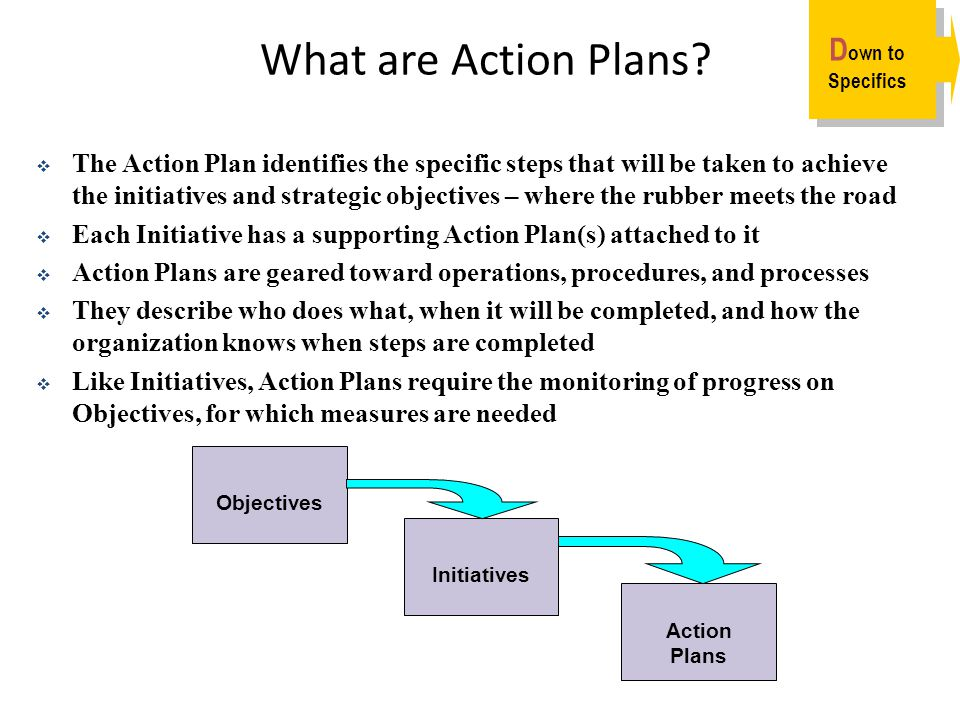 What are Action Plans Down to Specifics