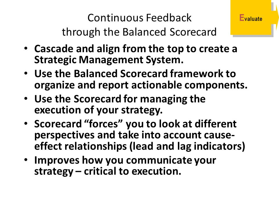 Continuous Feedback through the Balanced Scorecard