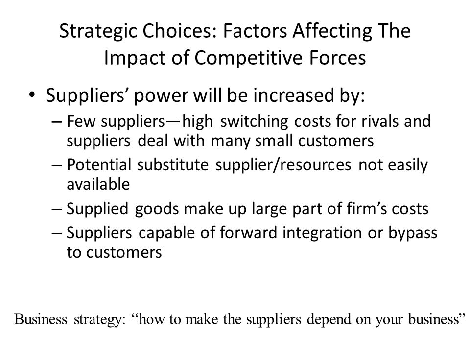 Strategic Choices: Factors Affecting The Impact of Competitive Forces