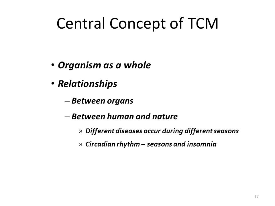 Central Concept of TCM Organism as a whole Relationships