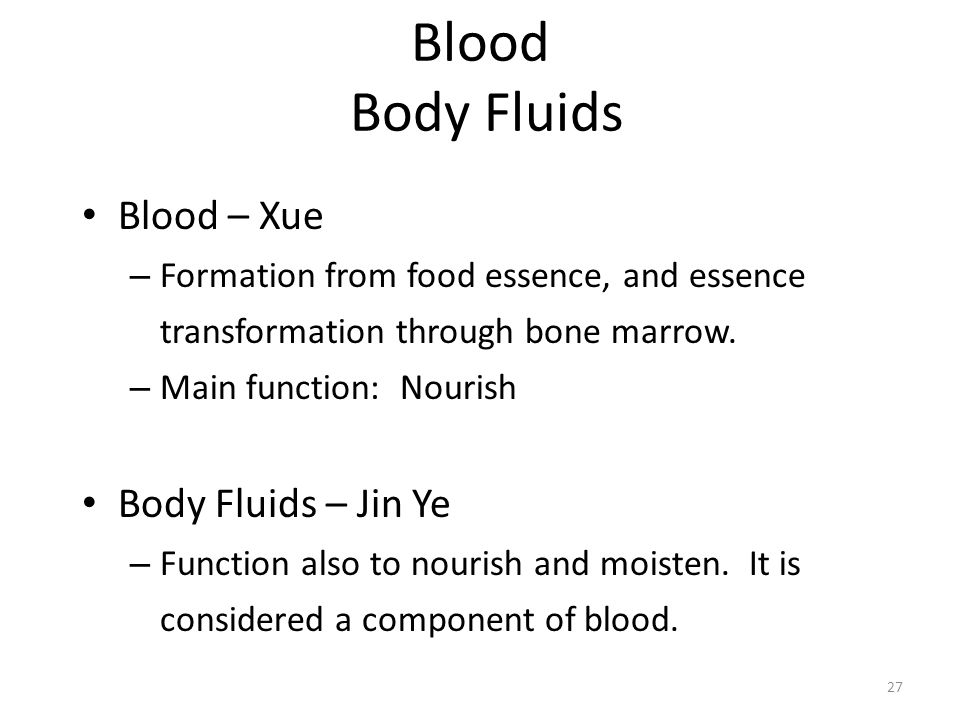 Blood Body Fluids Blood – Xue Body Fluids – Jin Ye