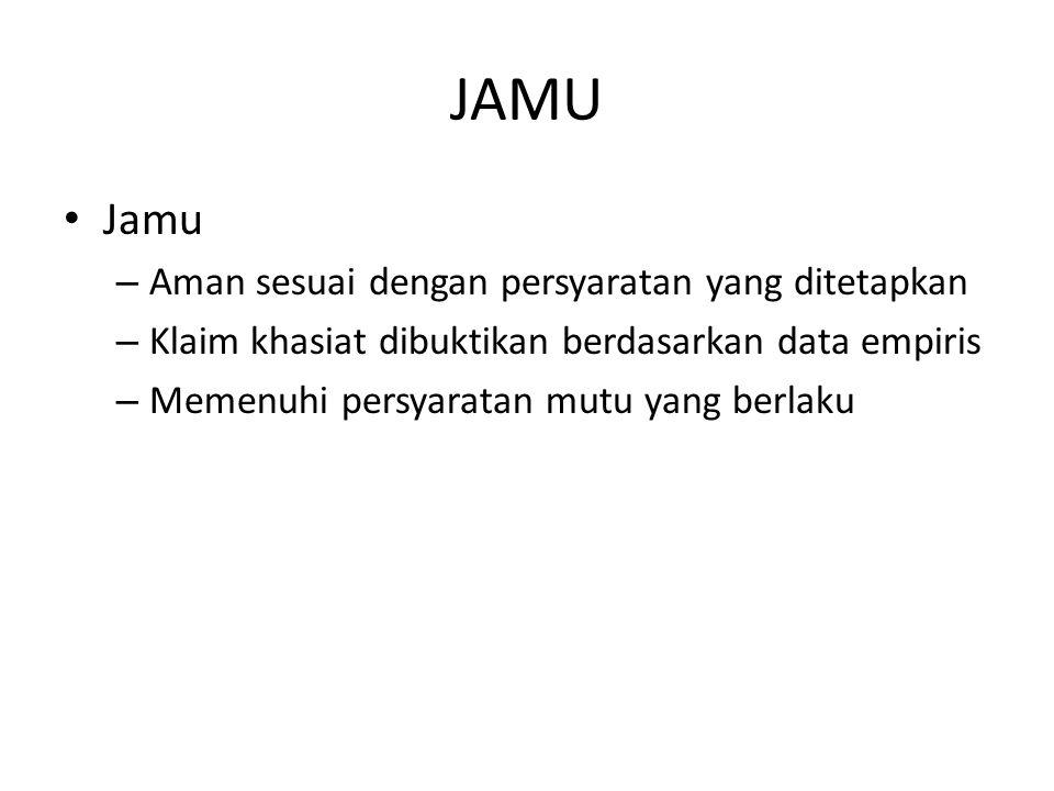 JAMU Jamu Aman sesuai dengan persyaratan yang ditetapkan