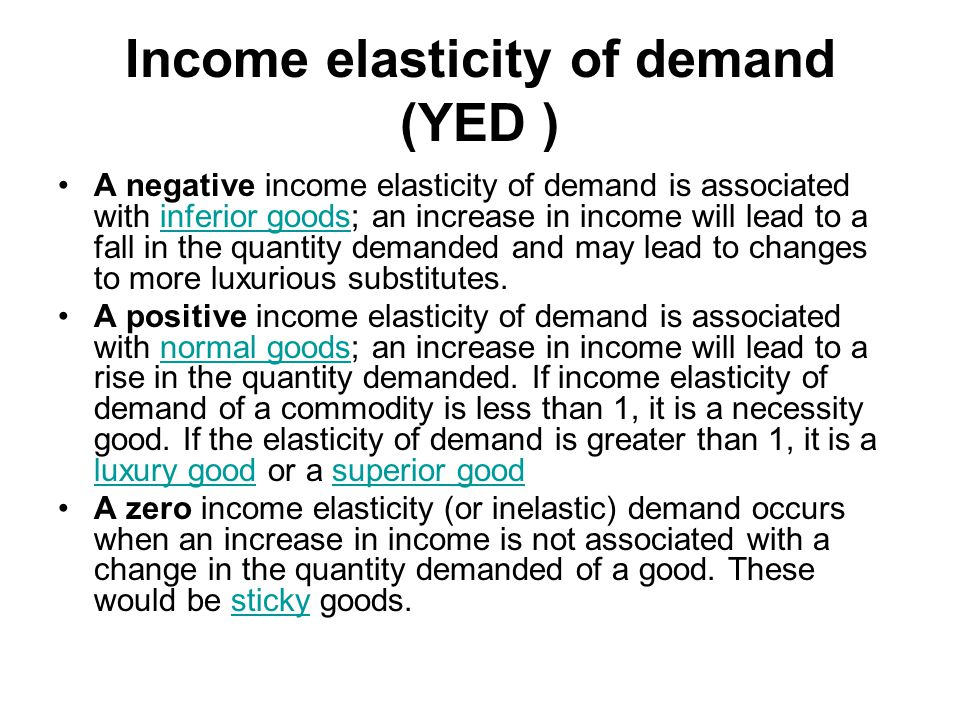Income elasticity of demand (YED )