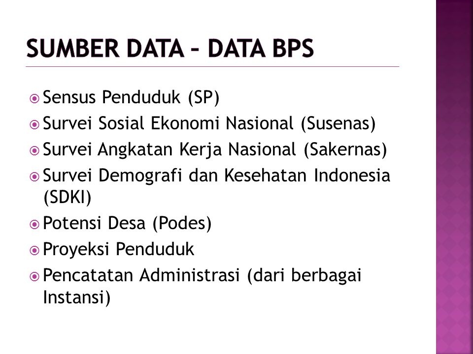 Sumber Data – data BPS Sensus Penduduk (SP)