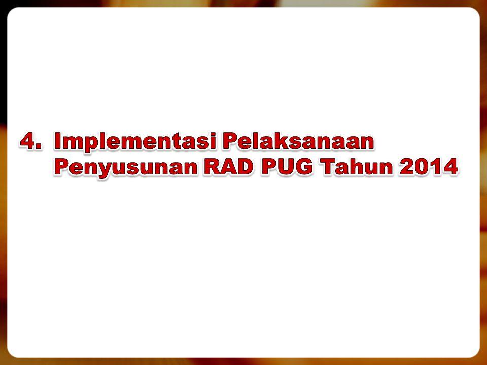 4. Implementasi Pelaksanaan Penyusunan RAD PUG Tahun 2014