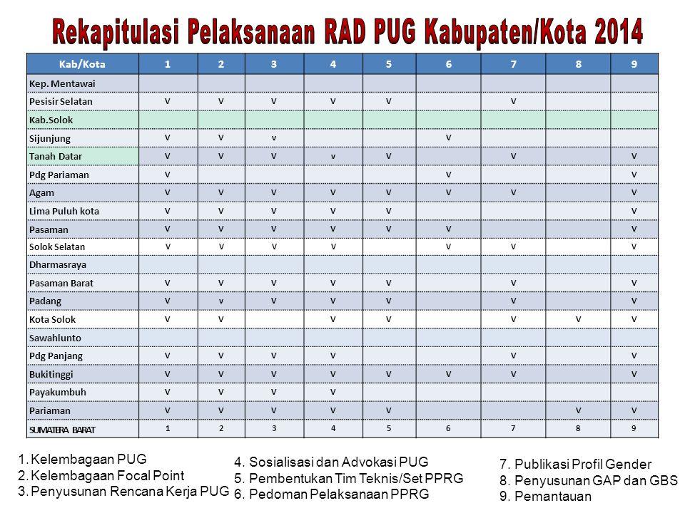 Rekapitulasi Pelaksanaan RAD PUG Kabupaten/Kota 2014