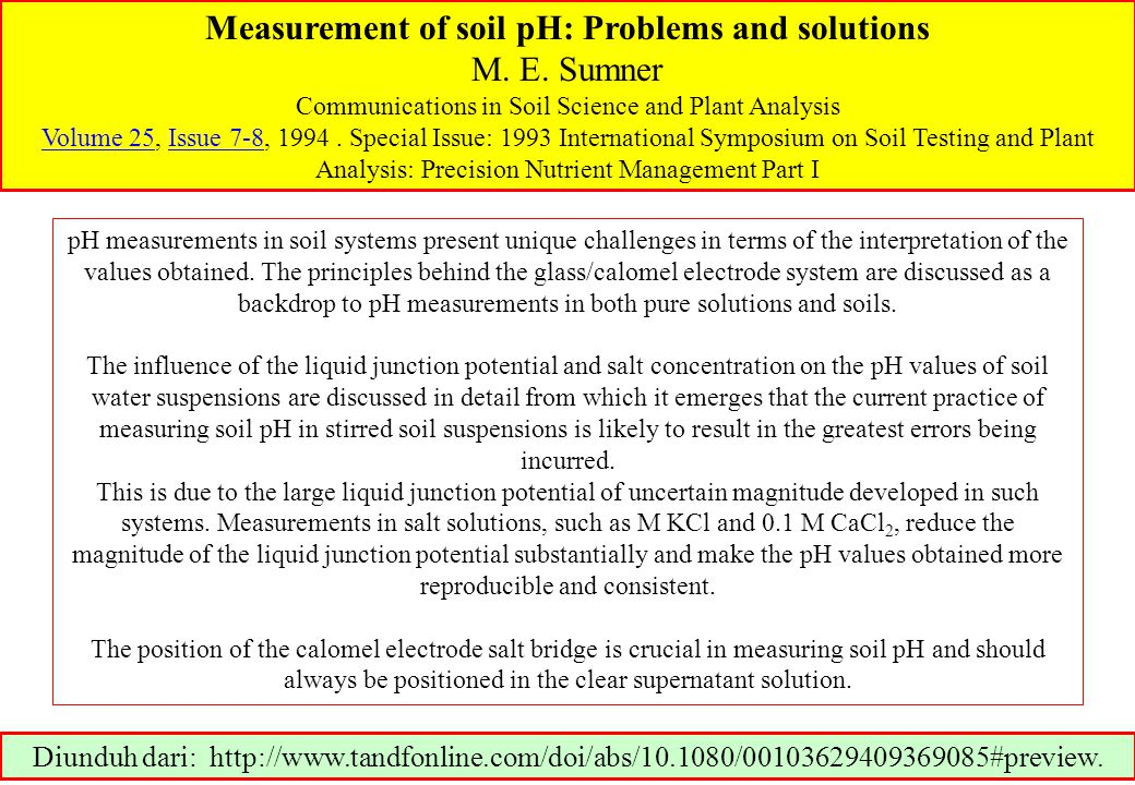 Measurement of soil pH: Problems and solutions