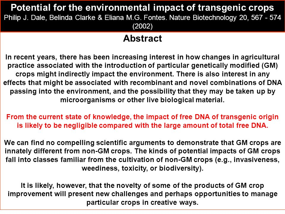 Potential for the environmental impact of transgenic crops
