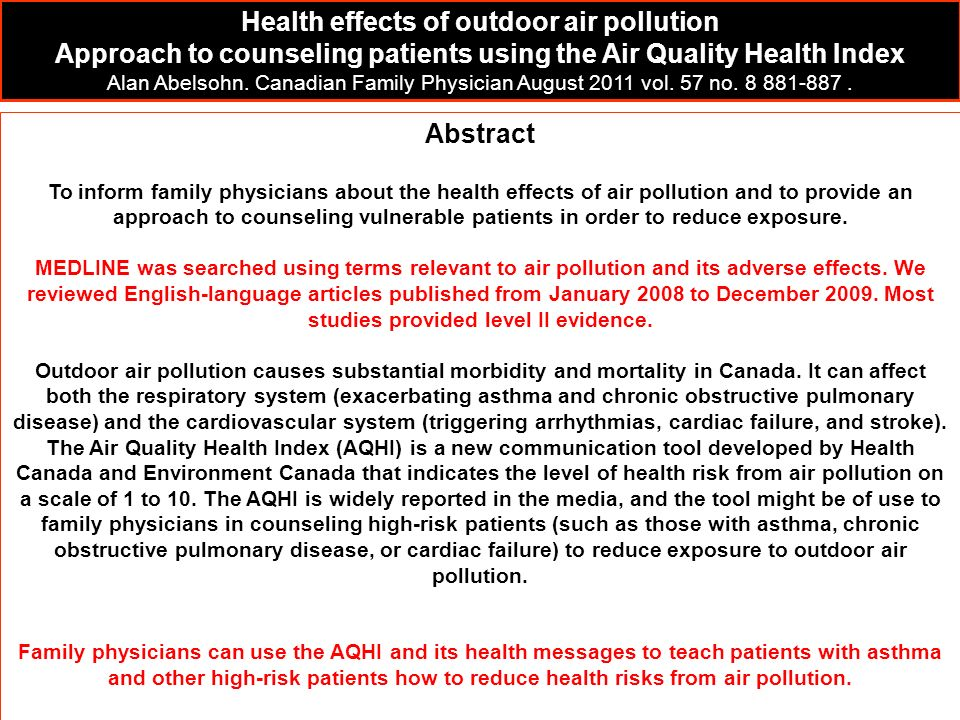 Health effects of outdoor air pollution