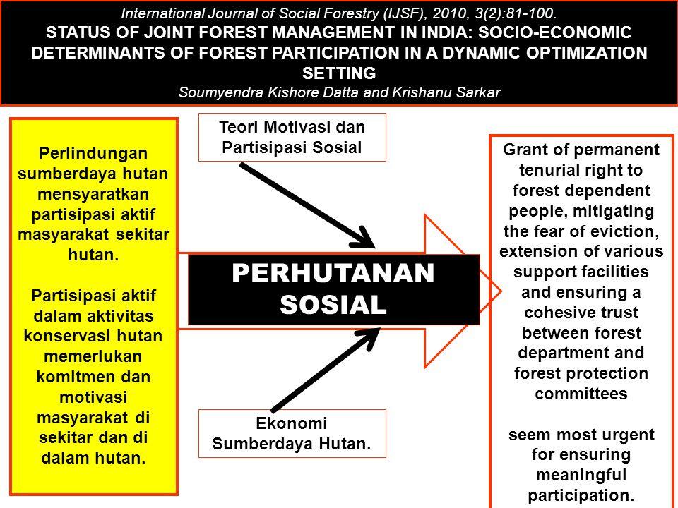 PERHUTANAN SOSIAL Teori Motivasi dan Partisipasi Sosial