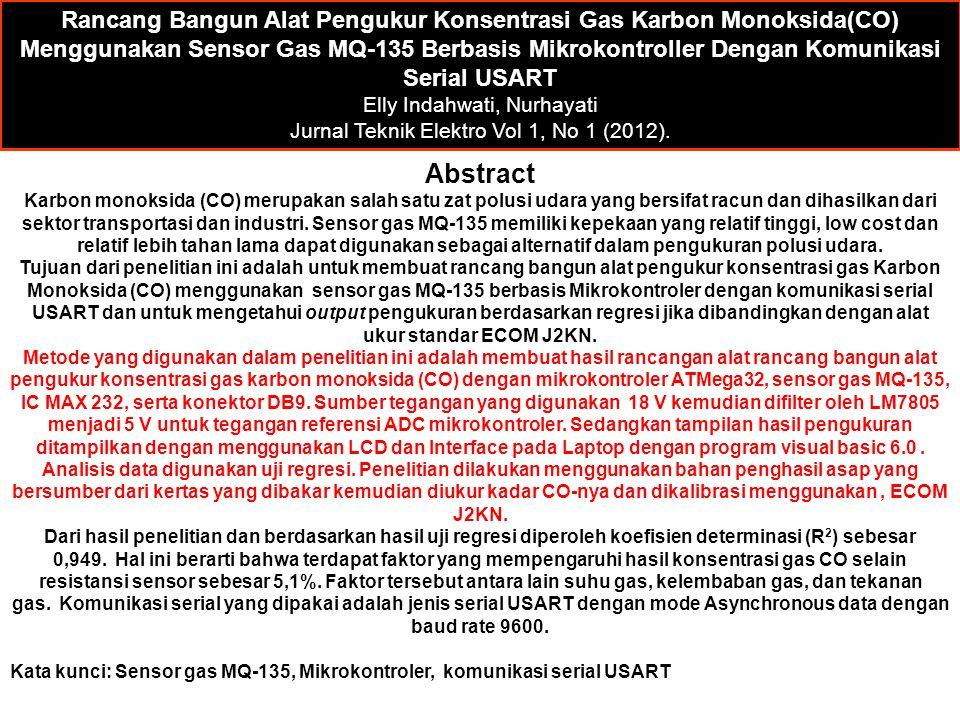 Rancang Bangun Alat Pengukur Konsentrasi Gas Karbon Monoksida(CO) Menggunakan Sensor Gas MQ-135 Berbasis Mikrokontroller Dengan Komunikasi Serial USART