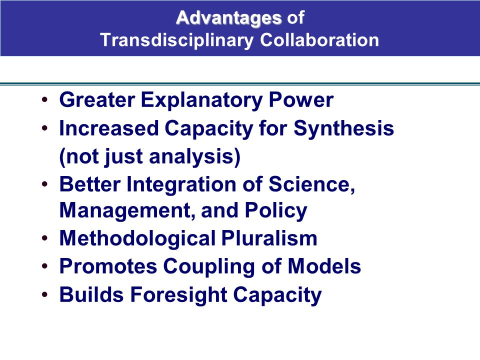 Advantages of Transdisciplinary Collaboration