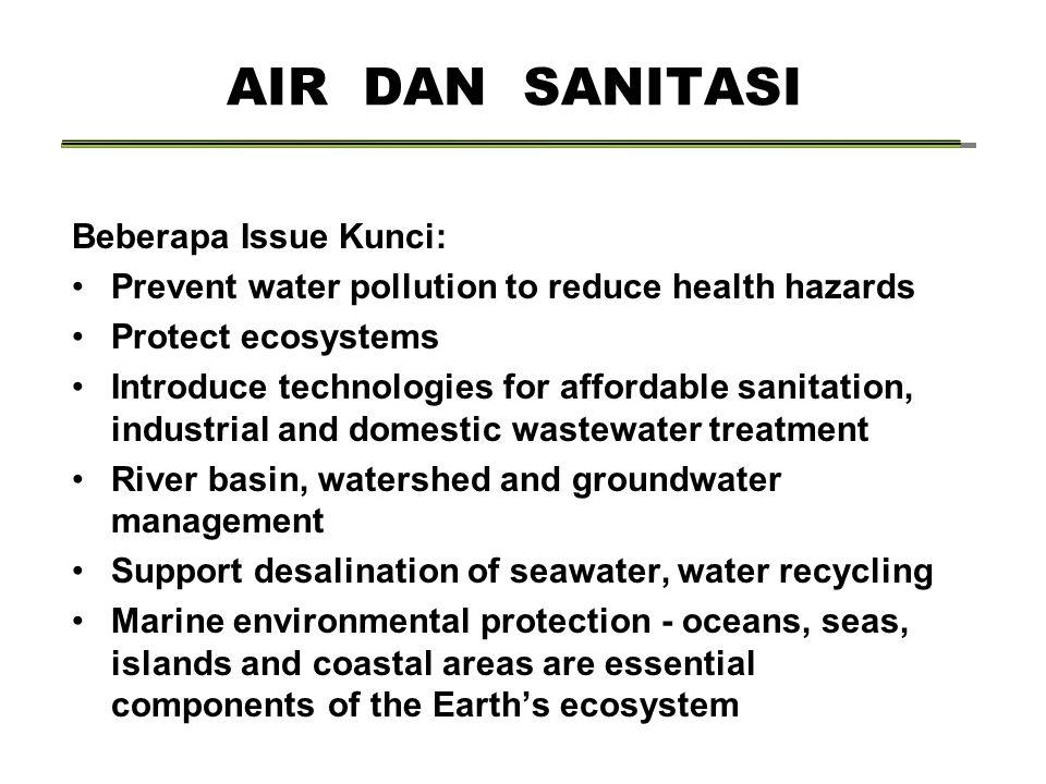 AIR DAN SANITASI Beberapa Issue Kunci: