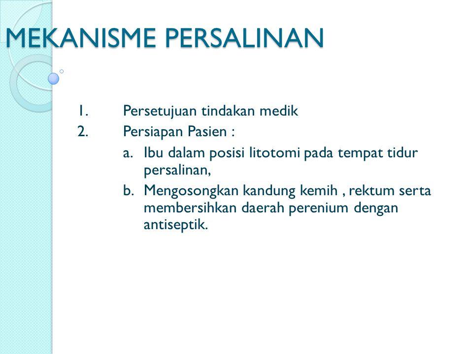 MEKANISME PERSALINAN 1. Persetujuan tindakan medik