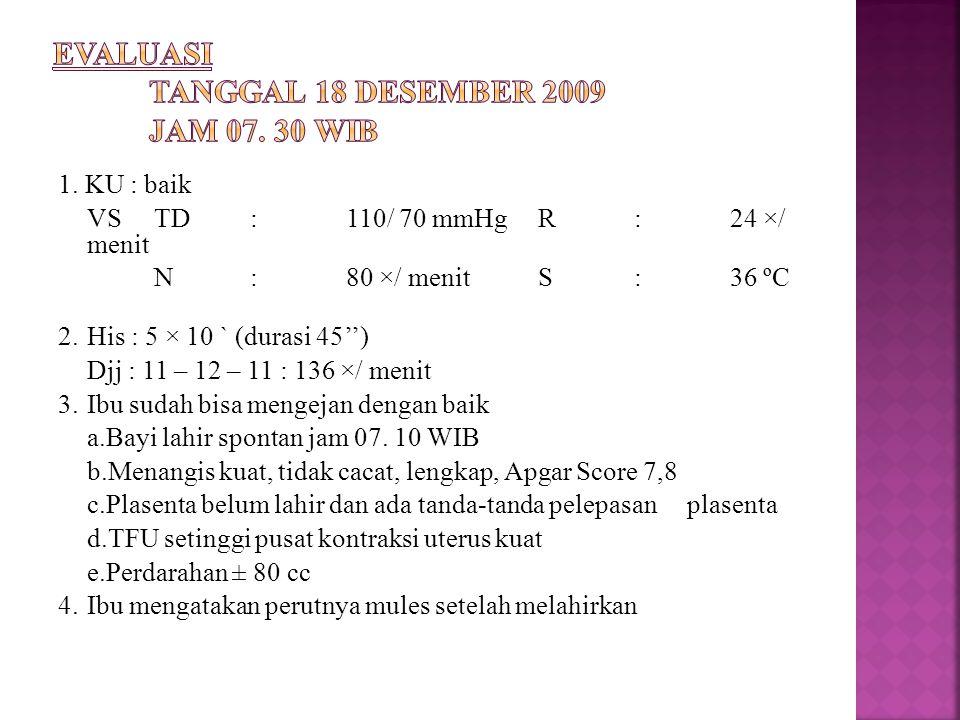 EVALUASI Tanggal 18 Desember 2009 Jam 07. 30 WIB