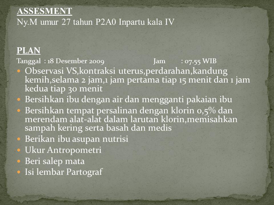 Ny.M umur 27 tahun P2A0 Inpartu kala IV
