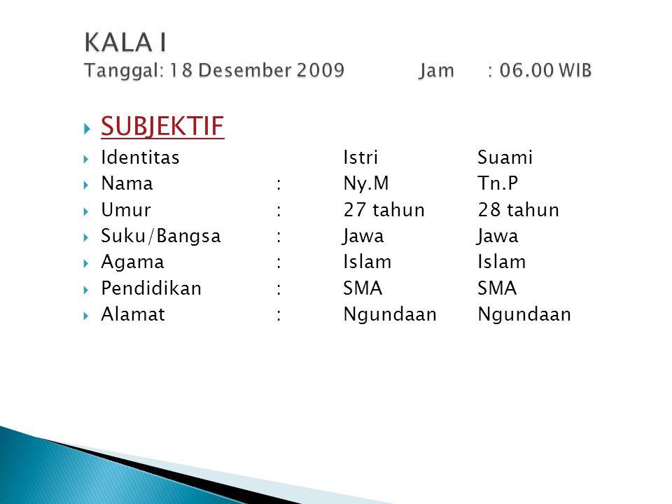KALA I Tanggal: 18 Desember 2009 Jam : 06.00 WIB