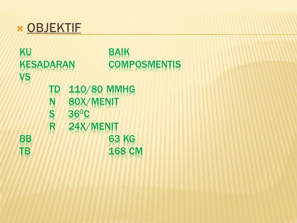 OBJEKTIF KU Baik Kesadaran Composmentis VS TD 110/80 mmHg N 80X/menit S 360c R 24X/menit BB 63 Kg TB 168 Cm.
